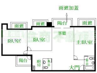 本格局图未依实际比例绘制,其比例,座向,格局,形状等,皆需以房屋现场